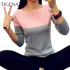 TIGENA Autumn Winter Sweater Women 2018 Knit High Elastic Jumper Women Sweaters And Pullovers Female Black Pink Tops Pull Femme Price: Winter Sweaters, Cable Knit Sweaters, Women's Sweaters, Jumpers For Women, Sweaters For Women, Crop Pullover, Women Sleeve, Pink Tops, Female