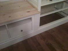 Materials: Hemnes Wardrobe and Hemnes TV Unit Description: I put together the wardrobes and TV unit and then attached the wardrobes to wall studs. I used a mix of 1×6 & 1×8 pine boards over the top of the TV unit to fill in the gaps between it and the wardrobes and create a bench. [&hellip