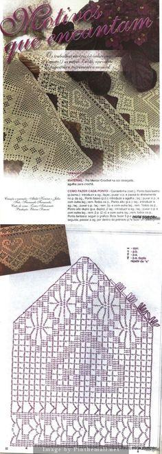 Filet crochet edging hearst & spider ~~ Crochet magazine: Barradinhos em crochê ~~ http://make-handmade.com/2011/07/06/crochet-edging-magazine/