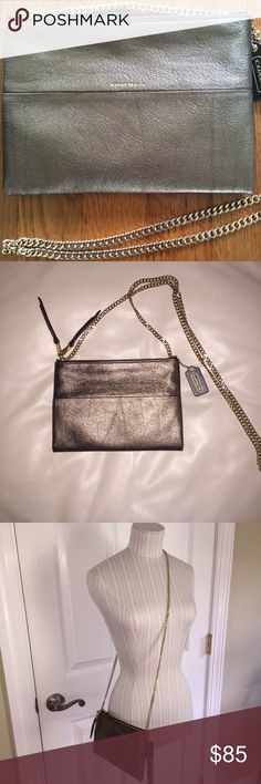 Coach Double Zip Chain X-Body Authentic Coach Double Zip Chain Cross body.  Metallic Leather.  Bronze in color and gold hardware.  Excellent used condition.  Two zippered compartments.  A personal favorite. Coach Bags Crossbody Bags