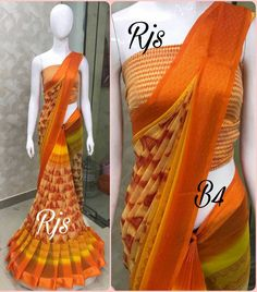 *Georgette sarees with zari borders* Running blouse *, * All original Rjs products*