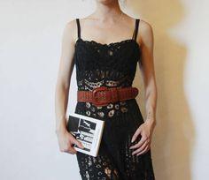 90s Sheer Betsey Johnson Crotchet Dress XS S
