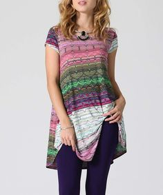 Love this 42POPS Pink & Purple Stripe Cap-Sleeve Tunic by 42POPS on #zulily! #zulilyfinds
