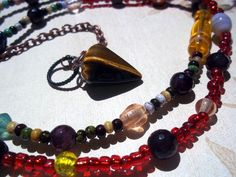 Pendulum Necklace Tiger Eye Stone on Beaded Necklace $24