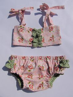 Baby Sun Suit Baby Girl Ruffle Bikini by ThePathLessRaveled