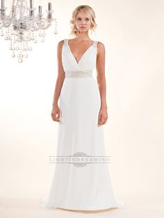 Sheath Plunging V-neck Wedding Dress with Beaded Straps and Belt