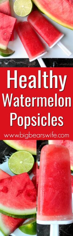 Watermelon Popsicles - Looking for a refreshing frozen summer treat without tons of sugar? These Healthy Watermelon Popsicles are perfect! They're made with only three ingredients too!