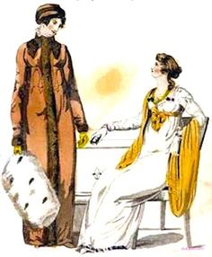 1813   February.                 Fashionable Morning and Evening Dresses.                   Brown redingote with contrasting brown trim on collar and vertical front opening and carrying a large white fur muff. White Empire-waisted evening dress with a yellow shawl and yellow waist tie to match.                 suzilove.com