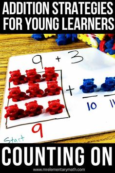 The Counting On strategy is a method young kids use to add numbers. Discover activities and ideas, like using manipulatives, number lines and anchor charts to help reinforce this addition strategy. Addition Strategies, Math Strategies, Math Resources, Math Activities, Math Tips, Math Homework Help, Math Help, Learn Math, Maths Eyfs