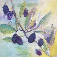 Love this acrylic painting from UGallery. Olives and Leaves by Alessandro Andreuccetti