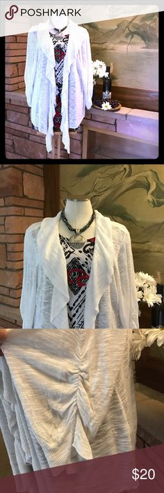 """🍇 ➕ Ruffle White Cardigan This gorgeous 2X ruffle cardigan is a must have for your spring and summer wardrobe! The sleeves have a cute gathered feature as well, as pictured. 🍇 Measurements... armpit-to-armpit (across the back): 26 1/2"""", length from base of neck to hem: 25 1/2"""". 🍇 From a smoke-free and happy-to-bundle closet. 🍇 The blouses and silver daisy necklace are available in separate listings. [T28] Indigo Sweaters Cardigans"""