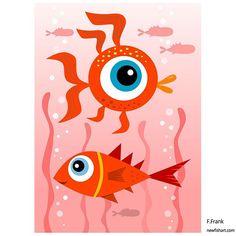 Fish art by FFrank. Ocean Aquarium, Fish Ocean, Fish Artwork, Frank Ocean, Happy Art, Comic Styles, Colorful Fish, Red Fish, Red Sea