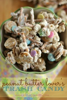 Peanut Butter Lover's Trash Candy -- seriously quick & easy treat to serve up {Shugary Sweets} Yummy Snacks, Yummy Treats, Delicious Desserts, Sweet Treats, Yummy Food, Candy Recipes, Snack Recipes, Dessert Recipes, Sweet Recipes