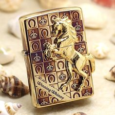 Japanese Smoked Golden 3D Marble Horse With Square Zippo Lighter