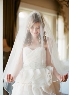 Blusher Veil with Piping -- so unbelievable gorgeous !! See the wedding on SMP here: http://www.StyleMePretty.com/2014/06/03/timeless-austin-wedding-at-chateau-bellevue/  Photography: TaylorLord.com
