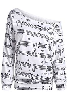 Long Sleeve Musical Notes Print Sweatshirt - White - M