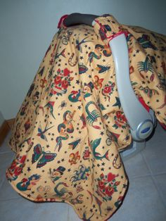 Tattoo Sailor Jerry with Red Minky Car Seat Canopy/ Cover/ Tent on Etsy, $40.00