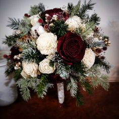 Wedding Bouquet, Sola Bouquet, ivory winter Bouquet, burgundy Bouquet, Bride Bouquet,Winter White Bouquet,, pine cone bouquet, woodland Pew Decorations, Wedding Decorations, Wedding Ideas, Wedding Pins, Wedding Bells, Bride Bouquets, Bridesmaid Bouquet, Green And Burgundy Wedding, Winter Wedding Flowers