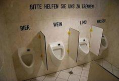 """German potty humor. """"Please help us to seperate(""""recycle""""): Beer Wine Soda Water"""