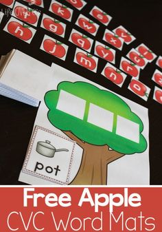 These free apple themed CVC word mats are a great way to introduce CVC word families!