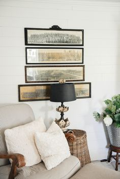 Vintage French Soul ~ Vintage Panoramic Photo Gallery Wall – The Beginning Architectural Pieces, Decor, Photo Wall Gallery, Living Room Grey, Room, Log Home Decorating, Living Room Ornaments, Farm House Living Room, Cottage Style Living Room