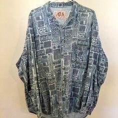 96e231a9 Vintage Levis Signature Denim Printed Shirt Men's XL Real Indigo Dyed  Patterned #fashion #clothing