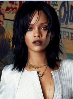 Rihanna Hairstyles rihanna wierd bob cut long bangs Attractive Rihanna Medium Straight Layered Capless Human Hair Wig 14 Inches
