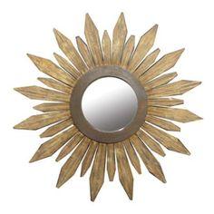 "Sunburst mirror from Home Depot. 34.75"" in diameter, made from Corsican pine wood (Pinus nigra)."