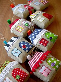 Fabric houses.  For decorations.
