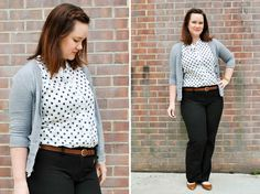 Work outfit. Gray Cardi, Navy Dot Sleeveless, Black Trousers, Brown Flats   http://www.justjacq.com/2015/06/17/gray-cardi-navy-dot-sleeveless-black-trousers-brown-flats/