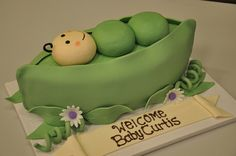 Pea in a Pod Baby Shower Cake by April  http://www.designercakesbyapril.com/