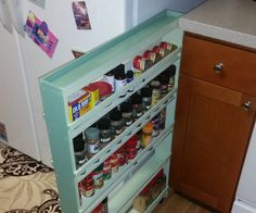 This is a brilliant idea for the odd areas around your house. how to build a hidden spice rack -- and use this idea to think of other ways to add hidden storage to your house for food or supplies Spice Storage, Spice Organization, Diy Kitchen Storage, Hidden Storage, Kitchen Redo, Spice Racks, Smart Kitchen, Bathroom Organization, Organizing Ideas