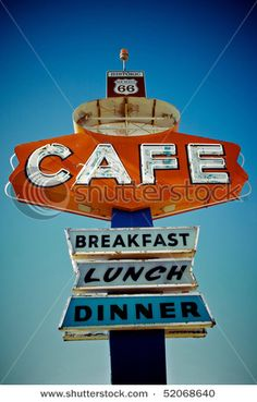 Stock Photo: Cafe sign along historic Route 66 in Arizona. Vintage Processing. Image ID: 52068640 Release information: N/A Copyright: RIRF Stock