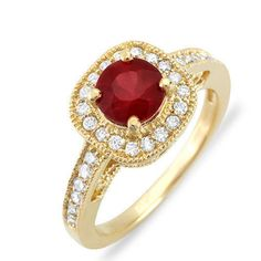 Natural-Round-Red-Ruby-Genuine-Diamond-Solid-14K-Yellow-Gold-Engagement-Ring