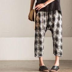 Korean Casual Damask Cotton Linen Pants K602A