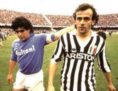 Diego Armando Maradona y Michel Platini