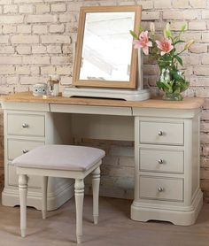 Flower Vase above Dressing Table with Wall Brick and Wood Flooring