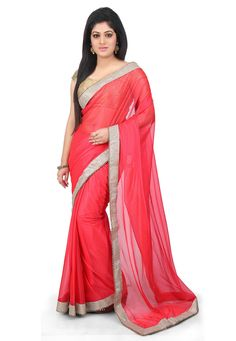Buy Plain Shimmer Lycra Saree in Coral online,Item code: SMU3331, Occasion: Party, Work: Contemporary, Fabric: Lycra, Gender: Women