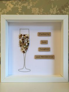 Prosecco glass with quote - Personalised button art