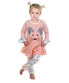 Look at this Coral Pastel Woodland Mouse Dress & Leggings - Toddler & Girls on #zulily today!
