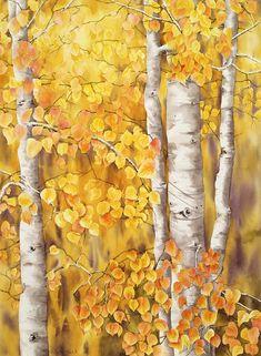Aspens Fall Painting  - Aspens Fall Fine Art Print