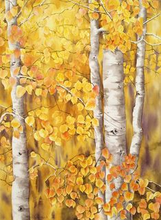 Aspens Fall Painting  - Aspens Fall Fine Art Print