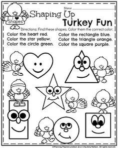 November Preschool Worksheets - Turkey Shapes. Thanksgiving Activities For Kindergarten, Thanksgiving Worksheets, Fall Preschool, Preschool Curriculum, Preschool Printables, Preschool Worksheets, Preschool Learning, Kindergarten Classroom, Preschool Activities