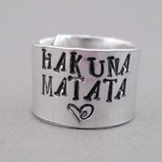 Disney Lion King Ring  Hakuna Matata  Hand Stamped by emerydrive, $10.50