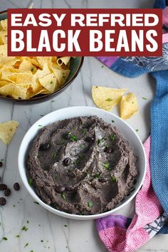 Move over pinto beans, Refried Black Beans are here! Creamy, rich, smokey, and delicious, this refried black beans recipe will become your new favorite addition to so many things. I put them on tostadas, on salads, on toast, layered in casseroles, mixed into soups, and use as a dip. They couldn't be easier to make either. You just cook the beans in a pot and then blend. Save in your fridge and use them all week. Or freeze portioned out and enjoy them for months! #refriedbeans #blackbeans Healthy Comfort Food, Healthy Snacks, Healthy Eats, Yummy Appetizers, Appetizer Recipes, Caramelized Onions And Mushrooms, Black Bean Recipes, Gluten Free Sides Dishes, Just Cooking