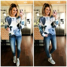 How to Style a Watercolor Sweatshirt // Blouson Sleeve Sweatshirt + Jeggings + Sneakers // Spring Outfit #shopthelook #sscollective #watercolorsweatshirt #blousonsleevesweatshirt #lightwashjeggings #lightbluesneakers #comfysneakers #athleisuresneakers #springoutfit #casualoutfit #howto