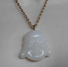 Jade Buddha Pendant Necklace Carved Figural Chinese Mutton