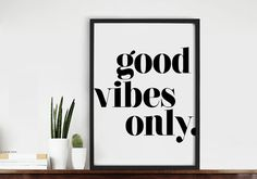 Good Vibes Only Quote Typography Art Print van chloevaux op Etsy