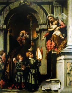Moretto da Brescia (Italian c. 1498–1554) [Renaissance] Saint Nicholas of Bari with Two Children and Virgin. Pinacoteca Tosio Martinengo, Palazzo Tosio, Brescia, Italy.
