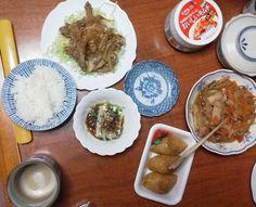 豚肉の生姜焼き 冷奴 千切りダイコン いなり寿司 キムチ